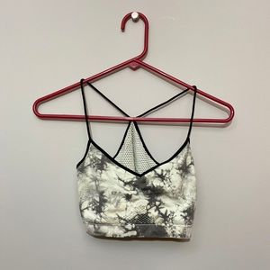 Black and White Marble Sports Bra